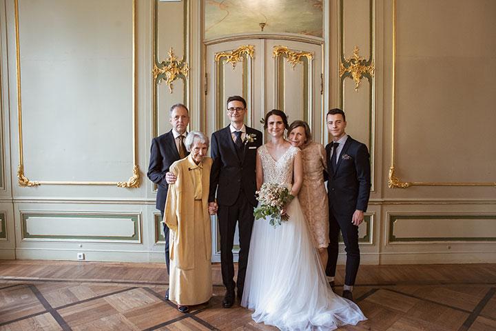 Gruppenfoto einer Hochzeit nahe Heidelnberg
