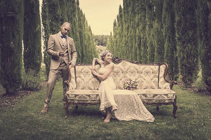 Vintage Hochzeitsbild im Weingut Mussler von Pascal Dietrich